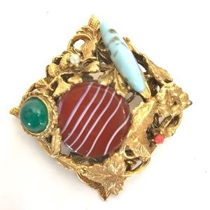 Vintage Brooch Art Glass Turquoise Venetian Pin